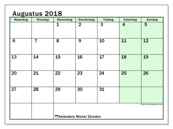 Kalender augustus 2018 (60MZ). Kalender voor de maand die gratis moet worden afgedrukt.
