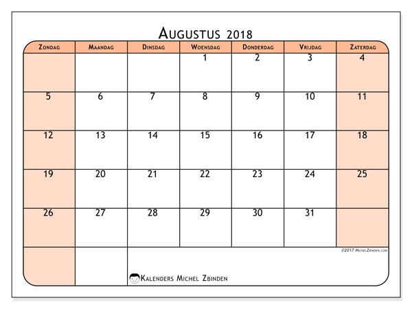 Kalender augustus 2018 (61ZZ). Kalender om gratis af te drukken.