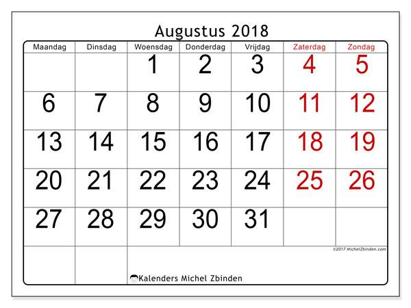 Kalender augustus 2018 (62MZ). Maandkalender om gratis te printen.