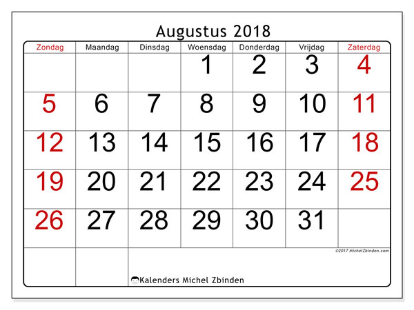 Kalender augustus 2018 (62ZZ). Gratis printbare kalender.