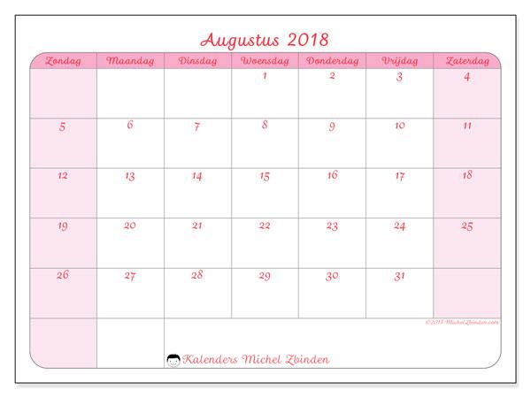 Kalender augustus 2018 (63ZZ). Maandkalender om gratis te printen.