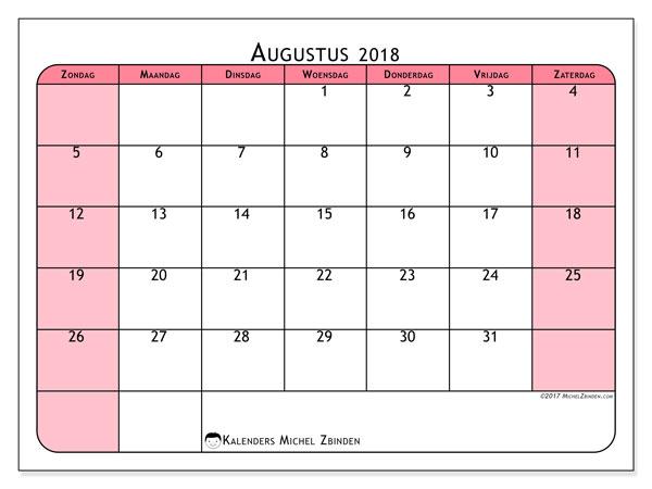 Kalender augustus 2018 (64ZZ). Gratis printbare kalender.