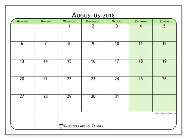 Kalender augustus 2018 (65MZ). Gratis printbare kalender.