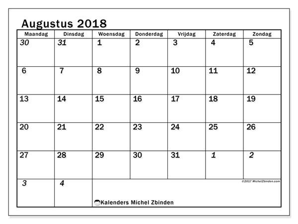 Kalender augustus 2018 (66MZ). Agenda om gratis te printen.