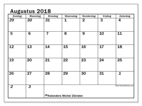 Kalender augustus 2018 (66ZZ). Kalender om gratis af te drukken.