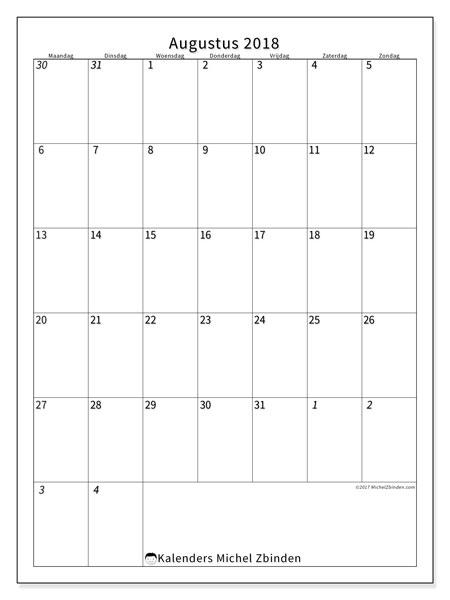 Kalender augustus 2018 (68MZ). Kalender voor de maand die gratis moet worden afgedrukt.