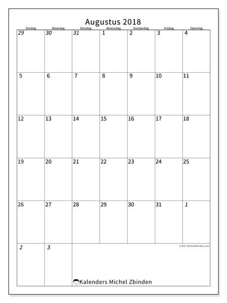 Kalender  augustus 2018, 68ZZ