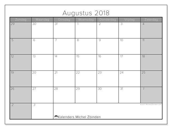 Kalender augustus 2018 (69ZZ). Kalender voor de maand die gratis moet worden afgedrukt.