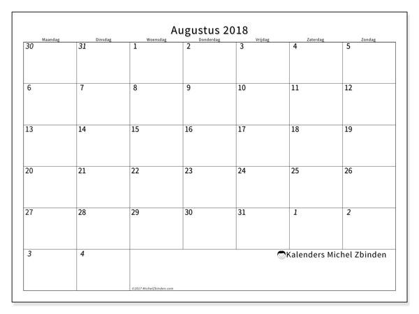 Kalender augustus 2018 (70MZ). Gratis printbare kalender.
