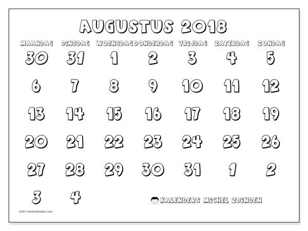 Kalender augustus 2018 (71MZ). Gratis printbare kalender.