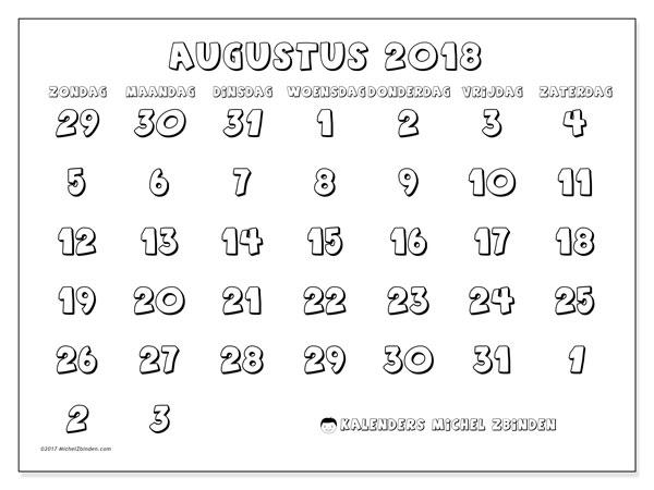 Kalender augustus 2018 (71ZZ). Gratis printbare kalender.