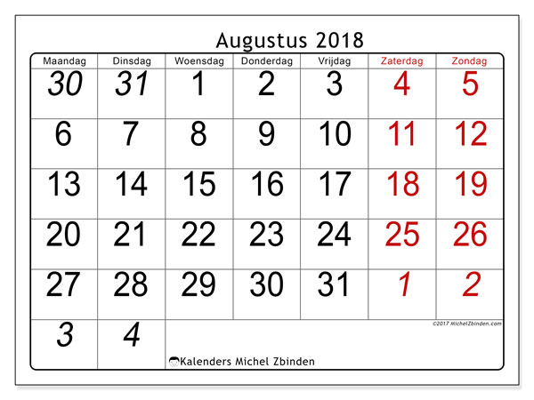 Kalender augustus 2018 (72MZ). Gratis printbare kalender.