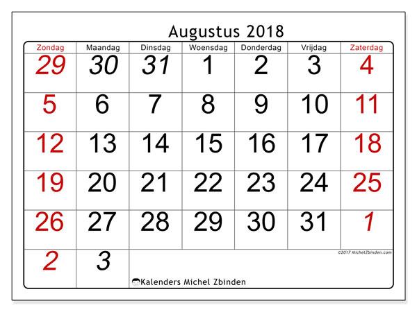 Kalender augustus 2018 (72ZZ). Schema om gratis te printen.