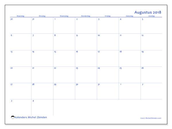 Kalender augustus 2018 (73MZ). Kalender voor de maand die gratis moet worden afgedrukt.