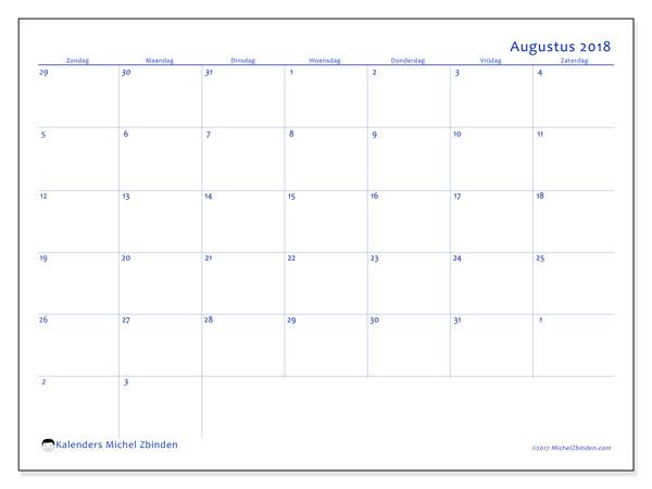 Kalender augustus 2018 (73ZZ). Schema om gratis te printen.