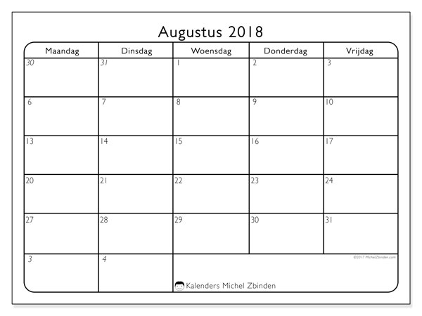 Kalender augustus 2018 (74MV). Schema om gratis te printen.