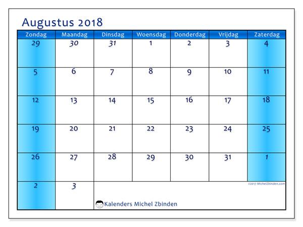 Kalender augustus 2018 (75ZZ). Gratis kalender om af te drukken.