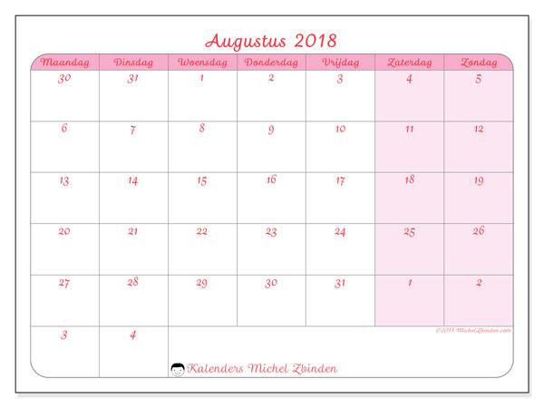 Kalender augustus 2018 (76MZ). Gratis printbare kalender.