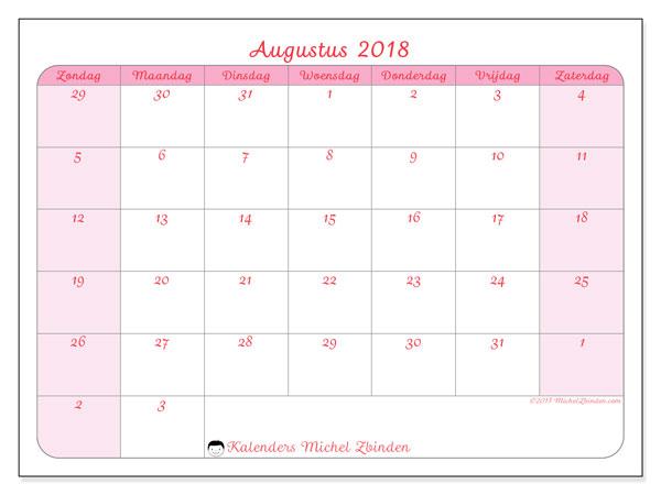 Kalender augustus 2018 (76ZZ). Gratis printbare kalender.