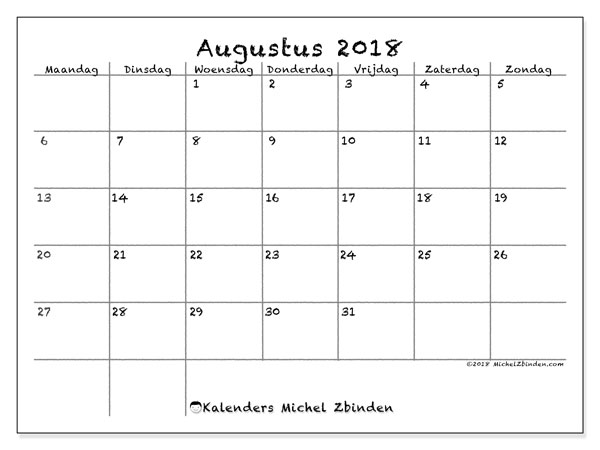 Kalender augustus 2018 (77MZ). Kalender om gratis af te drukken.