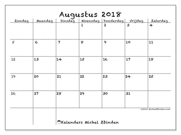 Kalender augustus 2018 (77ZZ). Kalender voor de maand die gratis moet worden afgedrukt.