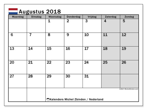 Kalender augustus 2018 met de feestdagen van Nederland. Agenda om gratis te printen.