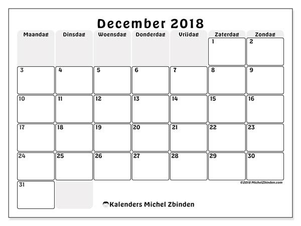 Kalender  december 2018, 44MZ