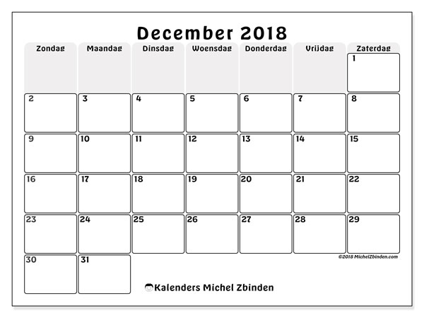 Kalender december 2018 (44ZZ). Maandkalender om gratis te printen.