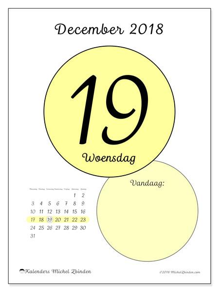 Kalender december 2018 (45-19MZ). Dagelijkse kalender om gratis te printen.