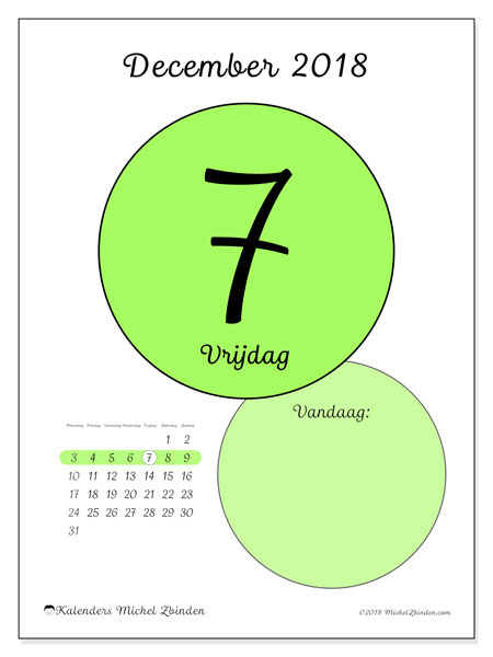 Kalender december 2018 (45-7MZ). Dagelijkse kalender om gratis te printen.