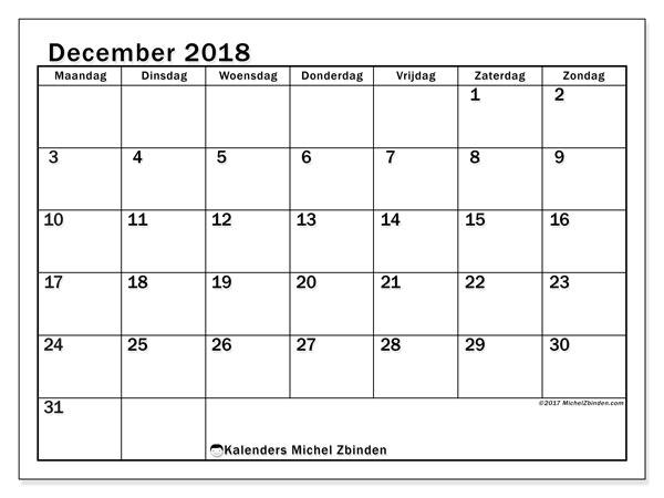Kalender  december 2018, 50MZ