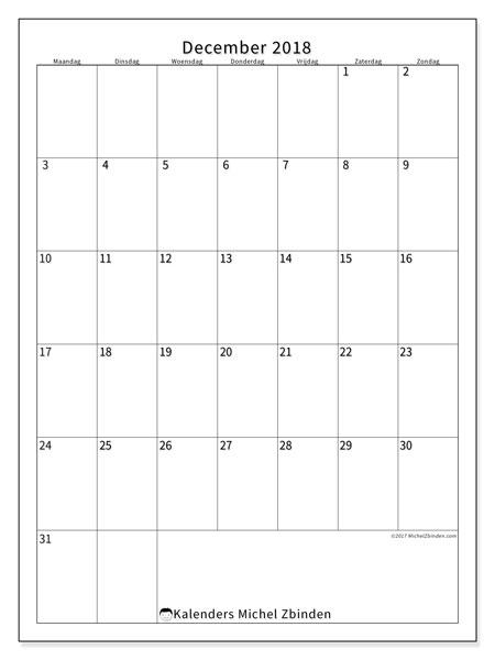 Kalender december 2018 (52MZ). Schema om gratis te printen.