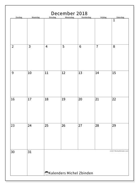 Kalender december 2018 (52ZZ). Gratis afdrukbare kalender.