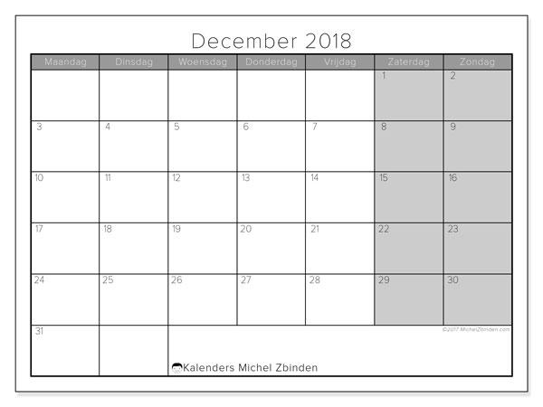 Kalender december 2018 (54MZ). Gratis kalender om af te drukken.