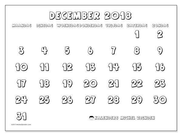 Kalender december 2018 (56MZ). Kalender voor de maand die gratis moet worden afgedrukt.