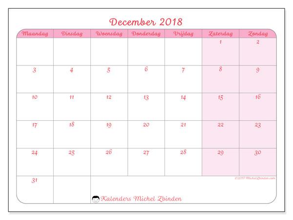 Kalender december 2018 (63MZ). Kalender voor de maand die gratis moet worden afgedrukt.