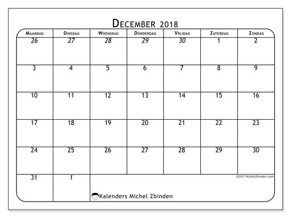 Kalender  december 2018, 67MZ