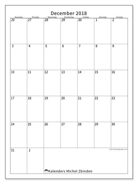 Kalender  december 2018, 68MZ