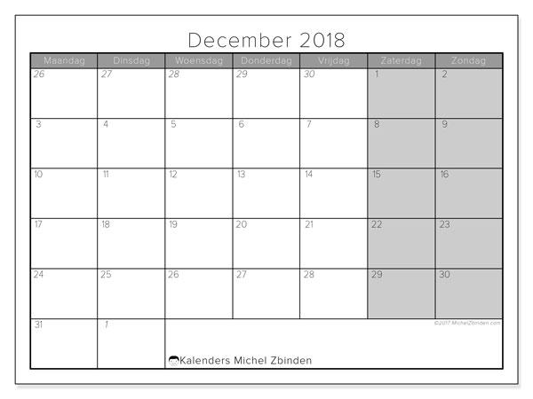 Kalender  december 2018, 69MZ