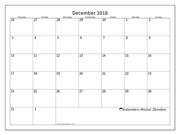 Kalender  december 2018, 70MZ
