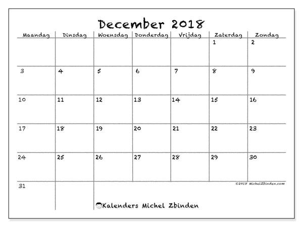 Kalender  december 2018, 77MZ