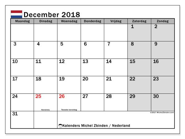 Kalender december 2018 met de feestdagen van Nederland. Gratis kalender om af te drukken.