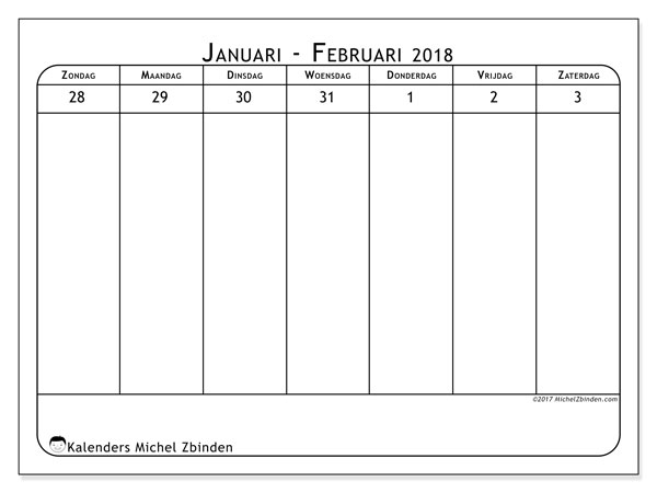 Kalender februari 2018 (43-1ZZ). Kalender voor de week om gratis te printen.