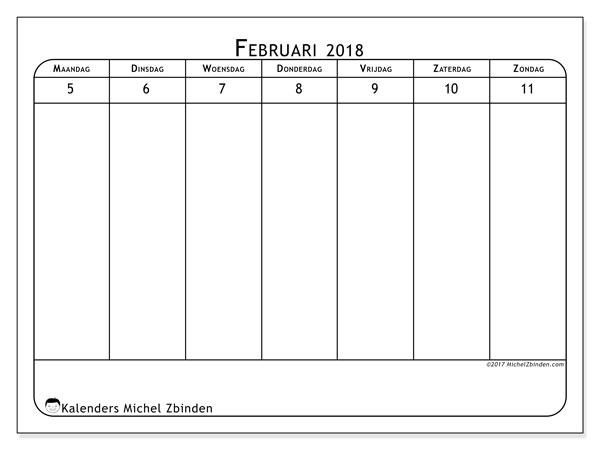 Kalender februari 2018 (43-2MZ). Wekelijkse kalender om gratis te printen.