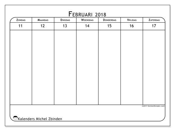 Kalender februari 2018 (43-3ZZ). Agenda om gratis te printen.