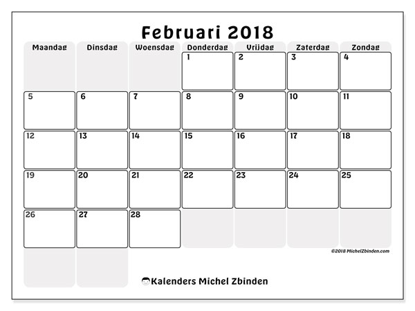 Kalender februari 2018 (44MZ). Kalender voor de maand die gratis moet worden afgedrukt.