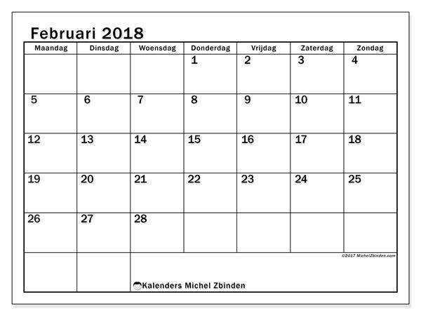 Kalender februari 2018 (50MZ). Maandkalender om gratis te printen.