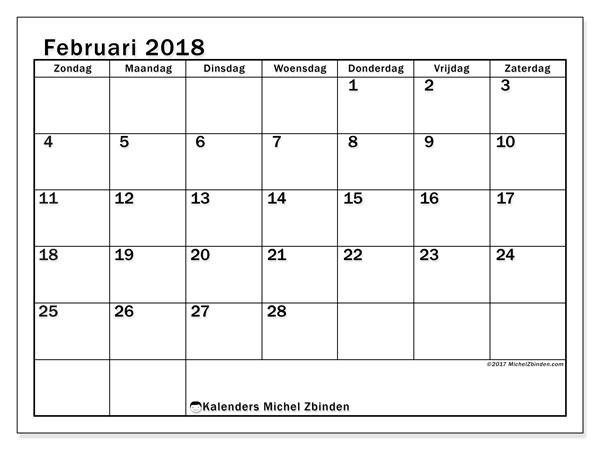 Kalender februari 2018 (50ZZ). Gratis kalender om af te drukken.