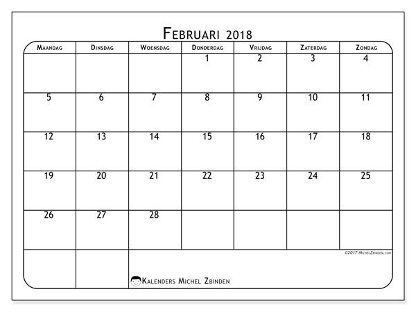 Kalender februari 2018 (51MZ). Agenda om gratis te printen.