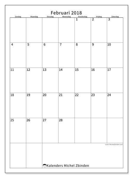 Kalender februari 2018 (52ZZ). Maandkalender om gratis te printen.